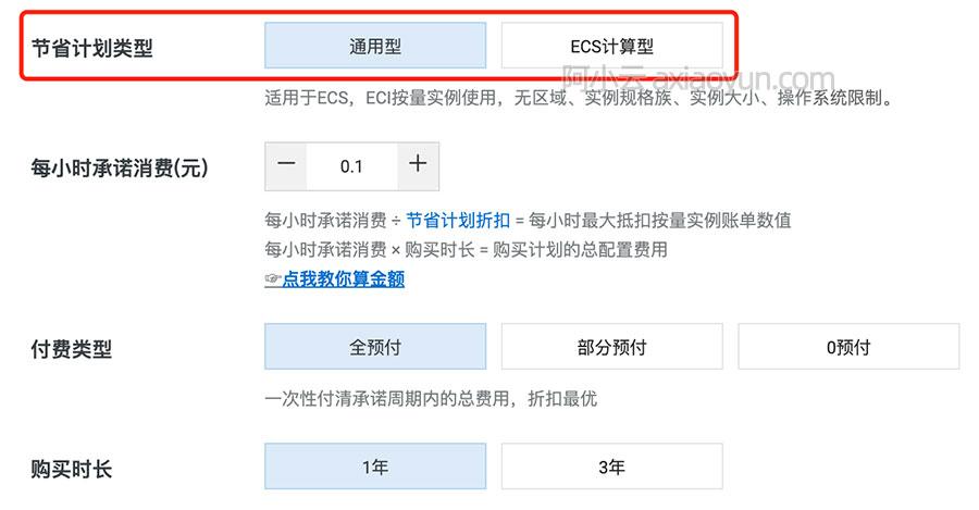 阿里云节省计划类型通用型和ECS计算型